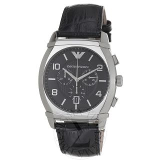 Armani Mens Classic Black Dial Stainless Steel Quartz Watch AR0347