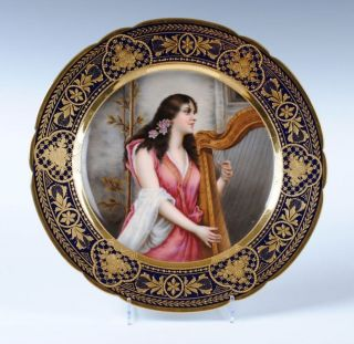 AUSTRIAN ROYAL VIENNA ART NOUVEAU PORCELAIN PORTRAIT PLATE GOLD GILDED