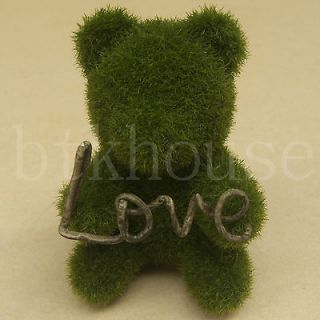 Artificial Moss Mini Teddy Bear w/ Love Display Figurine