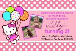 Custom Pink Polka Dot Hello Kitty Birthday Invitations Card