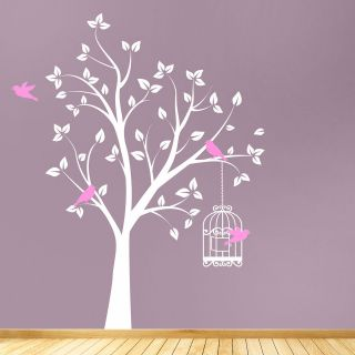 WITH BIRD CAGE WALL STICKER DECAL  CHILDRENS BED ROOM LIVING ROOM