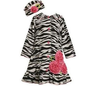 Bonnie Jean Girls Zebra Print Bonaz Flower Fleece Fall / Winter Coat