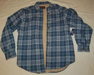 Mens INSULATED Moose Creek BLUE PLAID Snap Front WORK SHIRT Medium 38