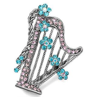 PUGSTER BLUE CRYSTAL HARP FLOWER BROOCH PIN W53
