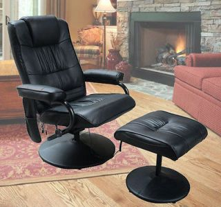 Leather Professional TV Office Chair Massage Soft With Ottoman Black