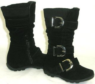 Kids Tall 3 Buckle Suede Flat Boots*Warm Knit Top BLACK TODDLER/YOUTH