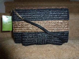 NWT Kate Spade Bow Bridge Straw Kaley Shoulder Purse Bag ~ Taupe