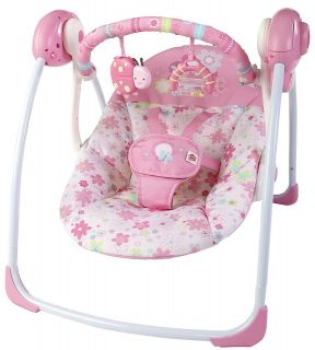 Bright Starts Pink Blossomy Blooms Flower Ladybug Travel Swing NEW NIB