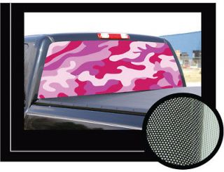 PINK CAMO 22 x 65 Rear Window Graphic back truck decal suv view