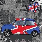 FQ Car Fabric London Bridge Mini Cooper Cars Union Jack Cotton
