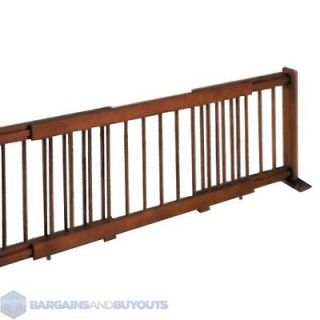 Heavy Duty Large Wooden Expanding Pet Gate   Rubbed Walnut   379754