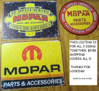 Vintage Style Mopar METAL SIGN Collection dodge desoto chrysler