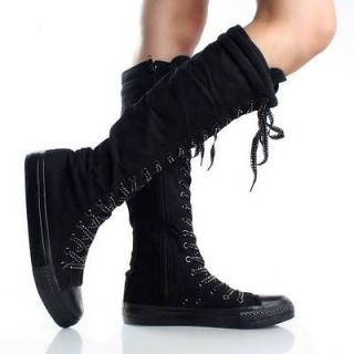 Black Lace Up Knee High Boots Canvas Sneakers Flat Womens Skate Shoes