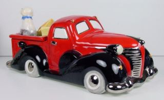 Henry Cavanagh Red 40s Vintage Truck Car Cookie Treat Jar Old English