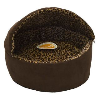 Thermo Kitty Bed Dlx Hooded Cat Bed Tan Mocha
