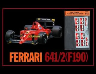 Tamiya 1/12 FERRARI 641/2 F190 F1 + BONUS DECAL SET Race Car Kit 12027