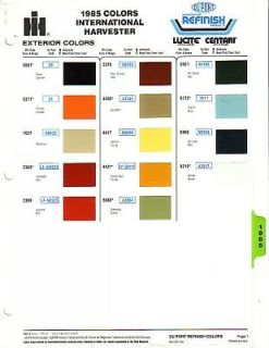 1985 INTERNATIONAL HARVESTER TRUCK AND SCOUT PAINT CHIPS