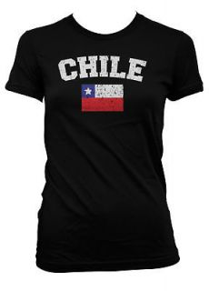 Chile Country Flag World Cup Soccer Futbol Girls Womens