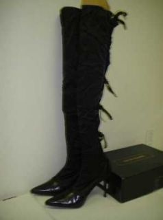 Colin Stuart Womens Black Corset Style Back Over the Knee Boot 6.5