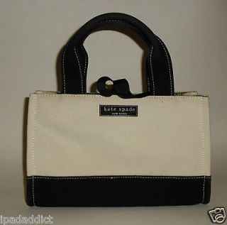 Kate Spade Cream & Black Canvas Two Tone Small Shopper Satchel Bag