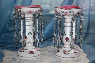 PAIR BOHEMIAN CZECH MANTLE LUSTRES Cased Glass White Overlay Cranberry