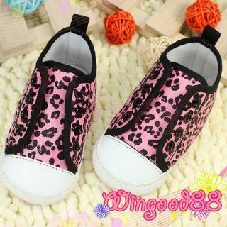 Lovely Infant Baby Girl Pink Leopard Print Design Sports Walking Shoes