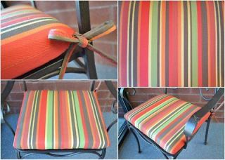 19 Outdoor Patio Dining Chair Seat Cushion   Red Stripe
