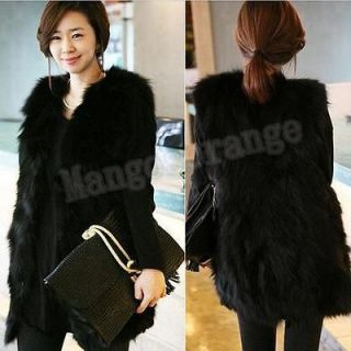 Women Winter Fashion Black Warm Faux Fur Long Vest Jacket Coat