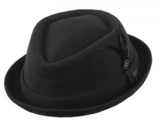 Mens 100 % Wool Felt Short Brim Pork Pie Fedora Hats WIth Feather