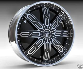 22 DUB SPIN Tycoon Wheel SET 22x9.5 Black Chrome Spinner Rims for RWD