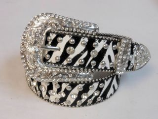 Western Cowgirl Rodeo Horse Show Rhinestone Leather Zebra Belt