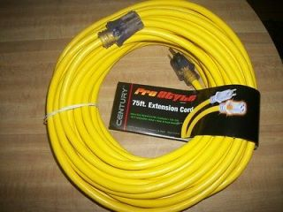 75 Foot Lighted Electrical Extension Cord #12 3 13 Amp 125 Volt