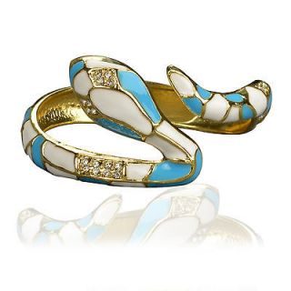 18K Gold GP Crystal Blue White Enamel Snake Bangle Bracelet T01A229K