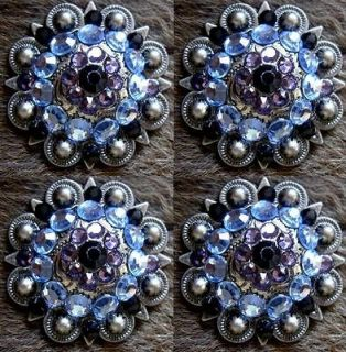 BERRY CRYSTALS BLING CONCHOS HORSE SADDLE HEADSTALL PURPLE AQUA