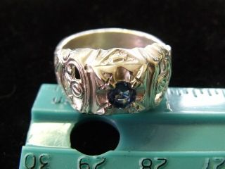 ESTATE ANTIQUE FREEMASON MASONIC STERLING SILVER 925 CYLON SAPPHIRE