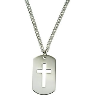 Sterling Silver Mens Polished Dog Tag Pendant with Cutout Open Cross