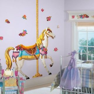 New Giant CAROUSEL HORSE WALL DECALS Girls Bedroom Baby Nursery
