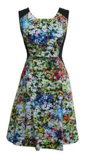 Black Green Spring Floral Day Dress Jocasta Size 10 New