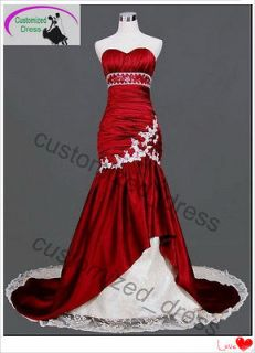 White/Red Mermaid Bride Wedding Dress Quinceanera Evening Ball Gown