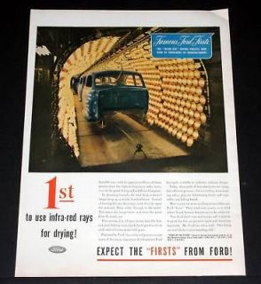 1945 OLD WWII MAGAZINE PRINT AD, FORD INFRA RED RAYS, PAINT DRYING