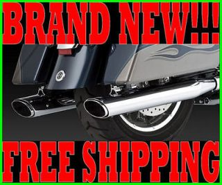 VANCE & HINES TWIN SLASH OVAL SLIP ON MUFFLERS EXHAUST HARLEY TOURING