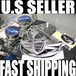 2013 HYUNDAI GENESIS COUPE CHROME WING/STEERING/WHEEL CAP SET 2.0T 3.8