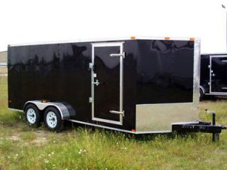 NEW 7x16 Enclosed Trailer Cargo Tandem Dual V Nose Utility Motorcycle