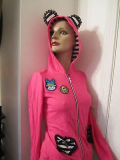 Jessica Louise Hot Pink Cat Ear Hoodie hoody S Goth Gothic Punk kitty