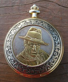 John Wayne Collectors Franklin Mint Pocket Watch 24k plated Quartz As