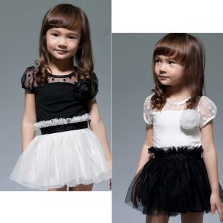 New Kids Toddlers Girls White/Black Flower Princess Tutu Mini Dress 2
