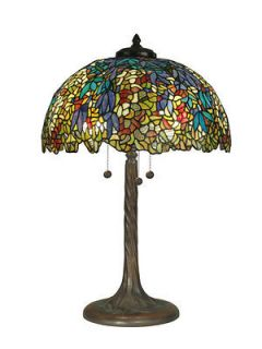 Tiffany Atherton Mission Style Table Lamp Art Stained Glass Shade NIB