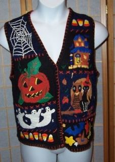 Hampshire Studio Sz M Black Colorful Haunted House Halloween Sweater