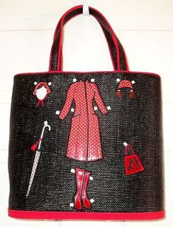 NEW VINTAGE LULU GUINNESS LG LONDON COUTURE STRAW TOTE HANDBAG PURSE