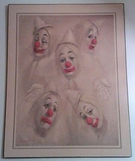 leighton jones five circus clowns litho print on board returns
